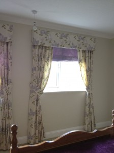 Hard Pelmet Curtains, Roman Blinds, Bed Throw and Wallpaper - Finedon