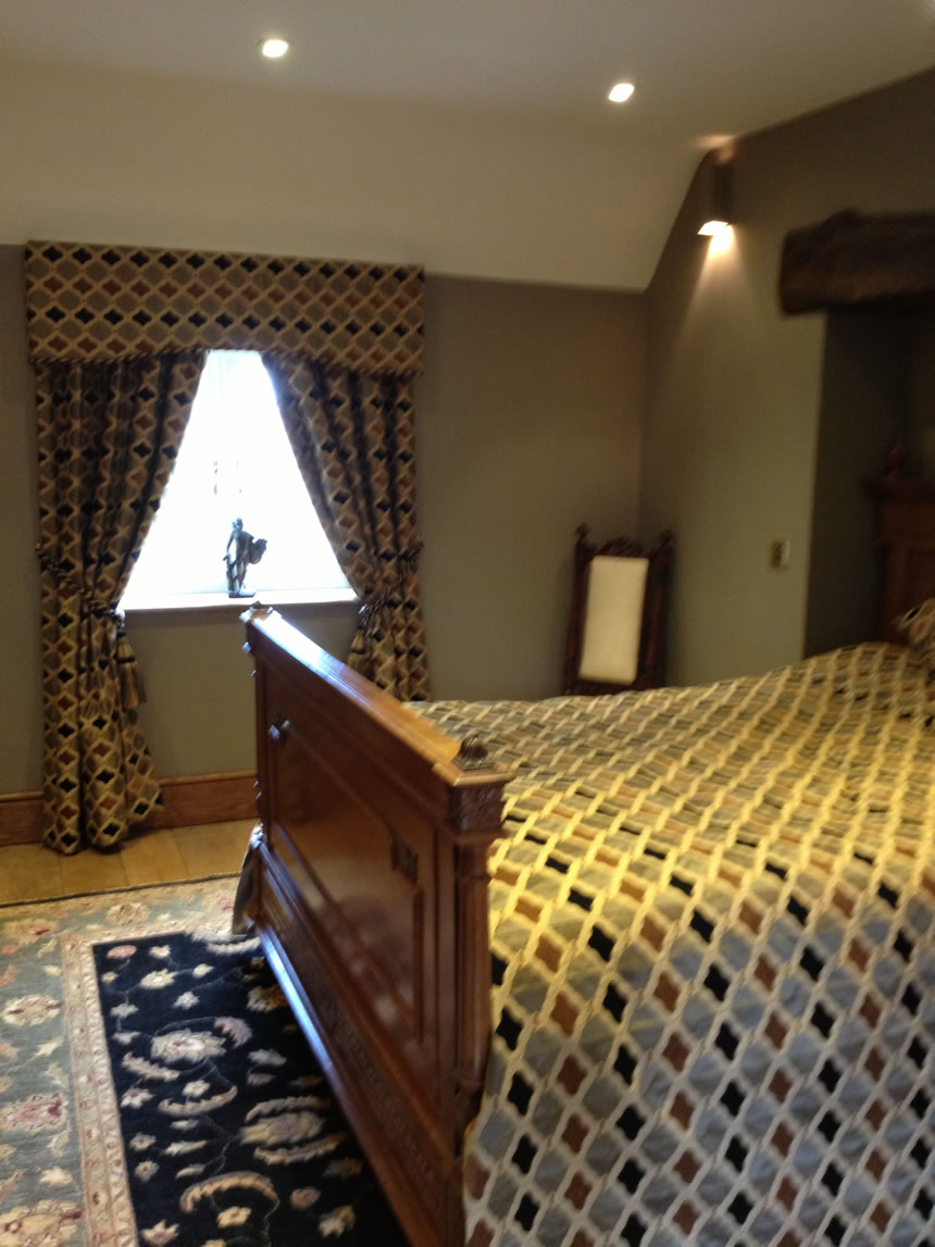 Hard Pelmet Curtains and Bed Throw
